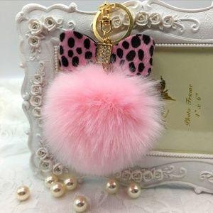 Pink Leopard Bow Pompom Keychain